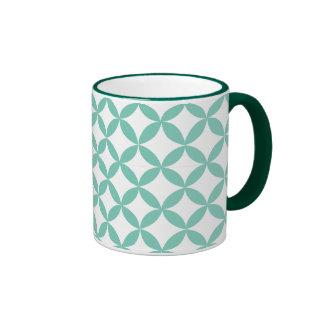 Verde menta geométrica tazas