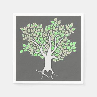 verde menta gris del árbol de amor que casa las servilleta desechable