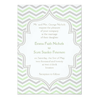 Verde menta moderna, boda gris del zigzag del