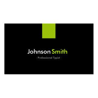 Verde menta moderna del mecanógrafo profesional tarjetas de visita