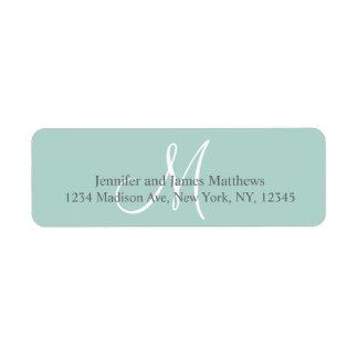Verde menta, monograma gris para los bodas etiquetas de remite