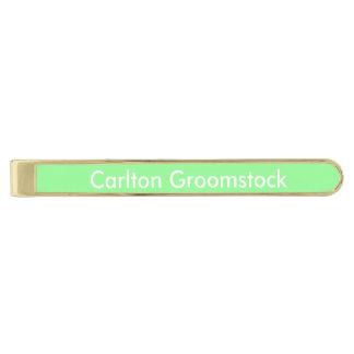 Verde menta personalizada alfiler de corbata dorado