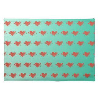 Verde menta Placemats con los corazones lindos Manteles Individuales