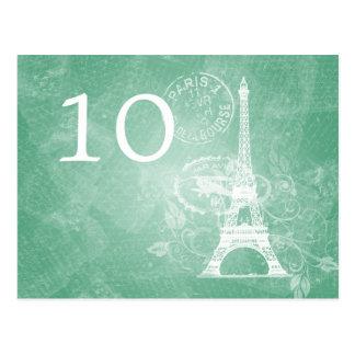 Verde menta romántica de París del número elegante Postal