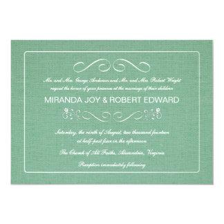 Verde menta rústica de la invitación del boda de