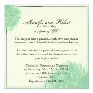 Verde menta y aniversario de boda del Peony de la Invitación 13,3 Cm X 13,3cm