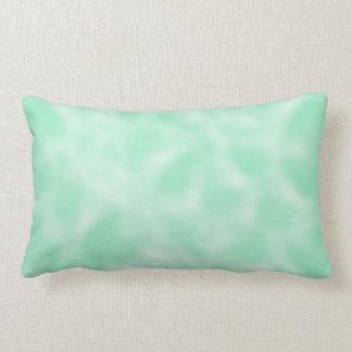 Verde menta y blanco abigarrados cojin