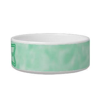 Verde menta y blanco abigarrados tazon para gato