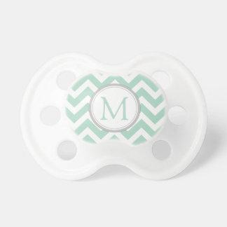 Verde menta y blanco cones monograma Chevron Chupete De Bebé