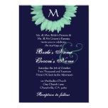 Verde menta y boda coloreado medianoche del invitación 12,7 x 17,8 cm