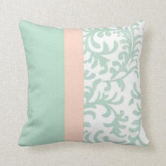 Verde menta y estampado de flores rosado del meloc almohada