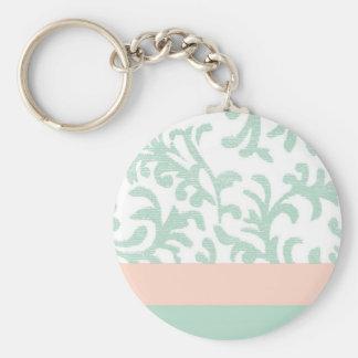 Verde menta y estampado de flores rosado del meloc llavero personalizado