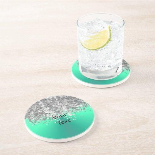 Verde menta y falso brillo posavaso para bebida