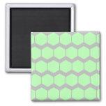 Verde menta y gris, modelo geométrico retro imán para frigorífico