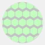 Verde menta y gris, modelo geométrico retro pegatina redonda
