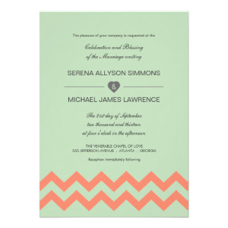 Verde menta y invitación coralina del boda de Chev