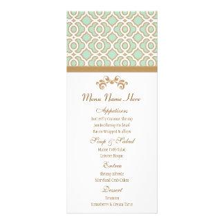 Verde menta y menú del marroquí del oro plantilla de lona