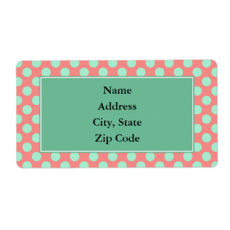 Verde menta y modelo de lunar rosado etiqueta de envío