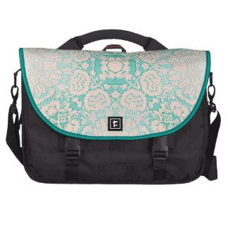Verde menta y modelo grabado en relieve marfil del bolsas para portátil