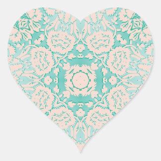 Verde menta y modelo grabado en relieve marfil del colcomanias corazon personalizadas