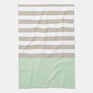Verde menta y modelo rayado gris neutral toallas de mano