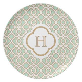 Verde menta y monograma del marroquí del oro platos de comidas