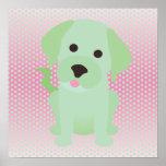 Verde menta y perro de perrito rosado posters