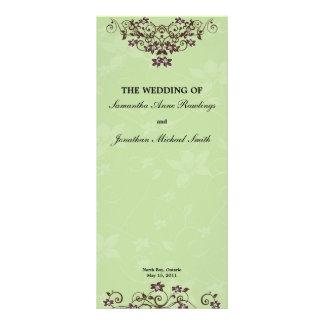 Verde menta y programa marrón del boda diseños de tarjetas publicitarias