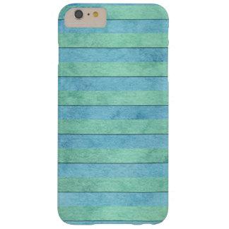 Verde menta y rayas del arte de la acuarela de la funda de iPhone 6 plus barely there