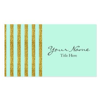 Verde menta y tarjeta de visita del brillo del oro
