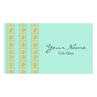 Verde menta y tarjeta de visita del damasco de la
