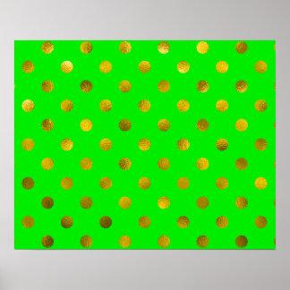 Verde metálico de bronce de los lunares de la hoja póster