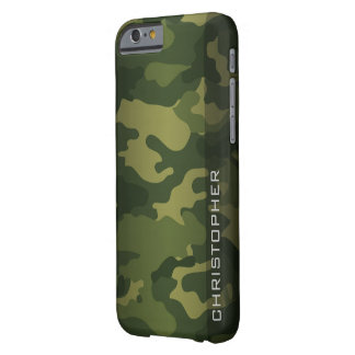 Verde militar del modelo de Camo con nombre Funda Para iPhone 6 Barely There
