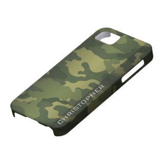 Verde militar del modelo de Camo con nombre iPhone 5 Carcasa