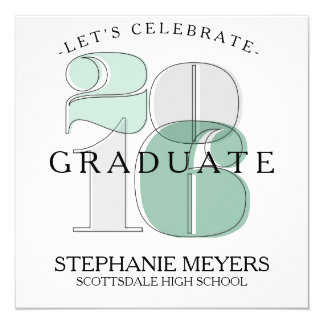 Verde moderno de la invitación de la graduación