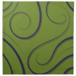 Verde moderno de los remolinos servilleta