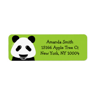 Verde moderno del oso de panda etiqueta de remitente