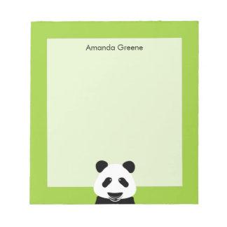 Verde moderno del oso de panda personalizado bloc de notas