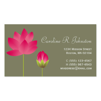 Verde moderno rosado rojo del té de la flor de lot tarjeta de visita