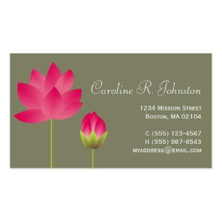 Verde moderno rosado rojo del té de la flor de tarjetas de visita