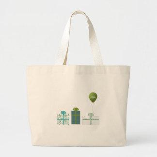Verde moderno y cumpleaños de la turquesa feliz bolsa tela grande