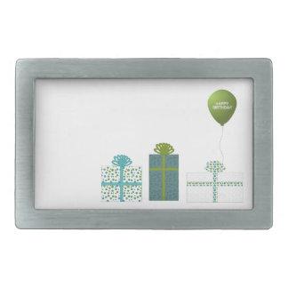 Verde moderno y cumpleaños de la turquesa feliz hebilla cinturon rectangular