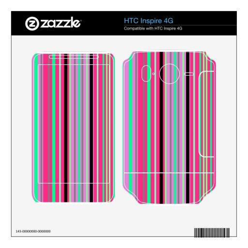 Verde moderno y rayas negras de las rosas fuertes calcomanías para HTC inspire 4G