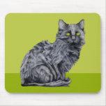 Verde Mousepad del gato negro Tapetes De Raton