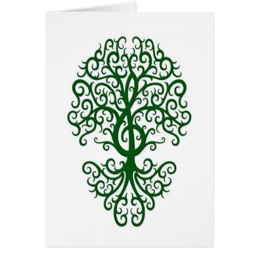 Verde musical del árbol del Clef agudo en blanco Felicitaciones