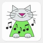 Verde musical del gato pegatinas cuadradas