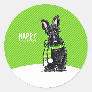 Verde negro del invierno del navidad de la bufanda pegatina redonda