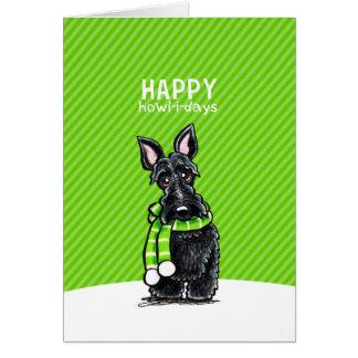 Verde negro del invierno del navidad de la bufanda tarjeta de felicitación