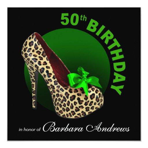 """Verde negro del leopardo cumpleaños enrrollado del invitación 5.25"""" x 5.25"""""""