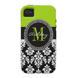Verde negro del monograma de la casamata del iPhon iPhone 4 Carcasas
